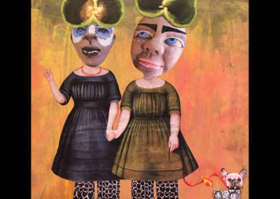 """The Poblano Sisters and their dog Chili Pepper, 12"""" x 12"""", Mixed Media, 2016"""