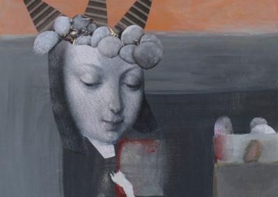"""Contemplation, 10"""" x 10"""", Mixed Media, 2012"""