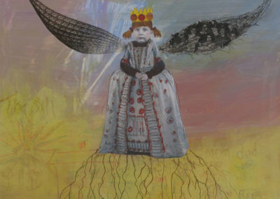"""Wings and Roots, 12"""" x 12"""", Mixed Media, 2013"""